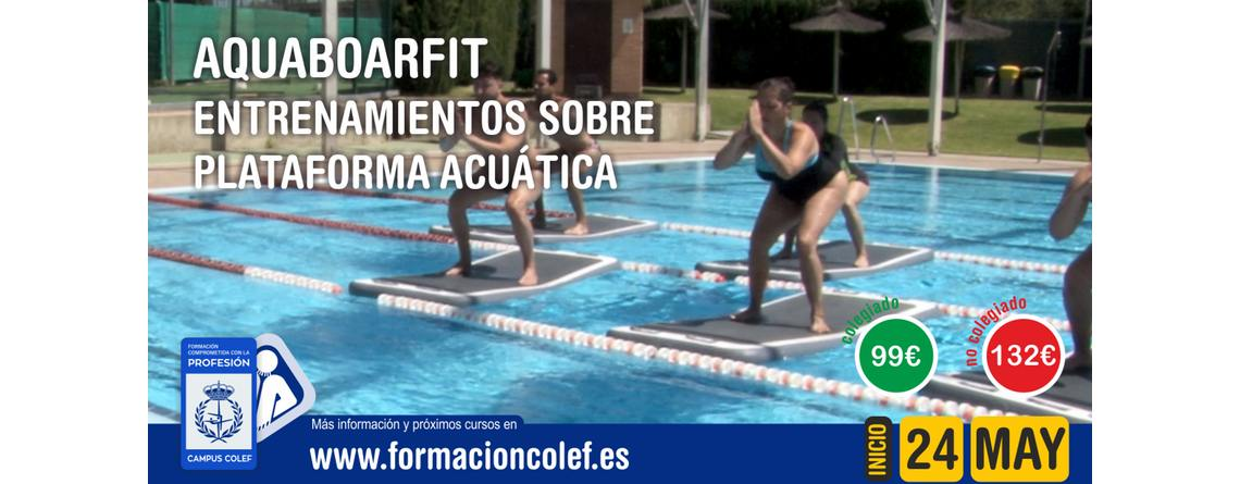 """Aquaboardfit. """"entrenamiento sobre plataforma acuática""""."""